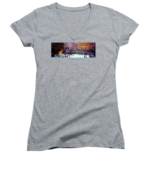 Women's V-Neck T-Shirt (Junior Cut) featuring the photograph  New York City Rockefeller Center Ice Rink  by Tom Jelen