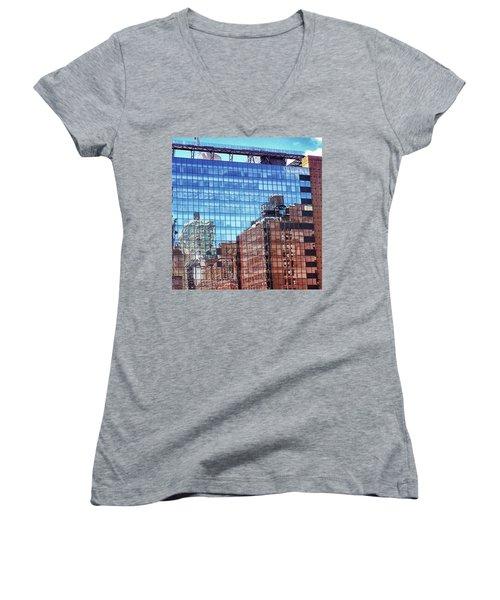New York City Skyscraper Art 4 Women's V-Neck T-Shirt