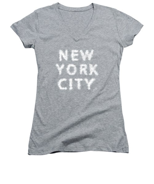 New York City Skywriting Typography Women's V-Neck T-Shirt (Junior Cut) by Georgeta Blanaru