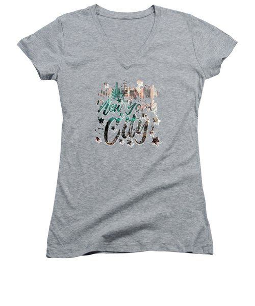 New York City Typography - Geometric Mix No. 4 Women's V-Neck (Athletic Fit)
