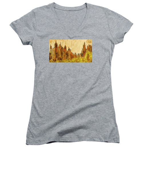 New York City In The Fall Women's V-Neck (Athletic Fit)