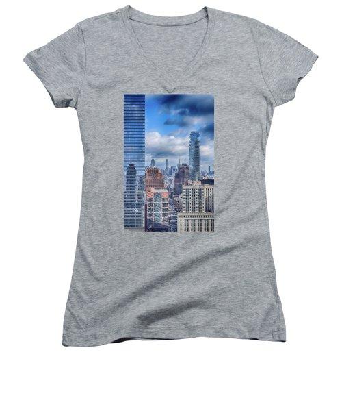 New York Cityscape Women's V-Neck T-Shirt (Junior Cut) by Dyle Warren