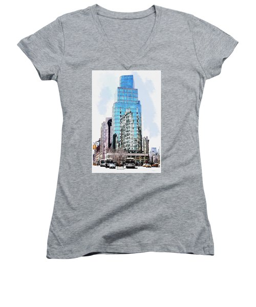 Women's V-Neck T-Shirt (Junior Cut) featuring the digital art New York In Reflection by Kai Saarto