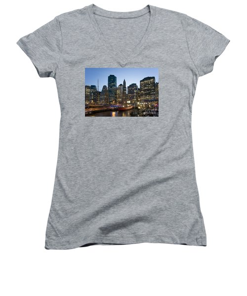 Women's V-Neck featuring the photograph New York Manhattan Seaport by Juergen Held