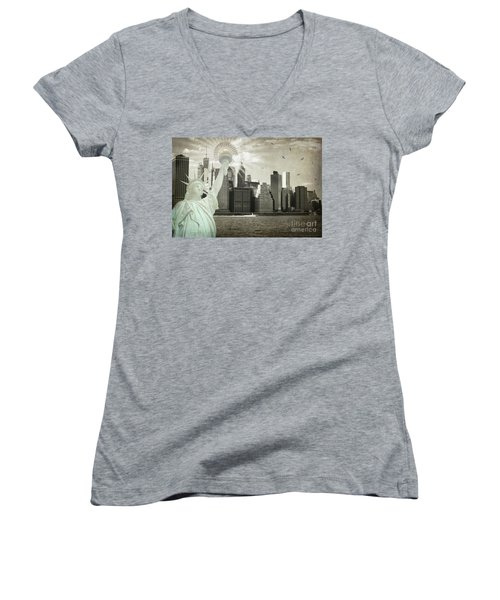 New York New York Da Women's V-Neck T-Shirt (Junior Cut) by Judy Wolinsky