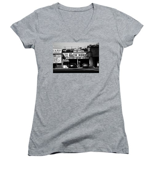 Women's V-Neck T-Shirt (Junior Cut) featuring the photograph New York Street Photography 69 by Frank Romeo