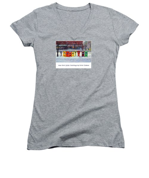 New York Streetscapes 2016 Women's V-Neck (Athletic Fit)