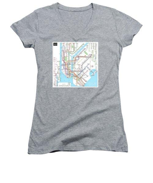 New York Subway Map Women's V-Neck