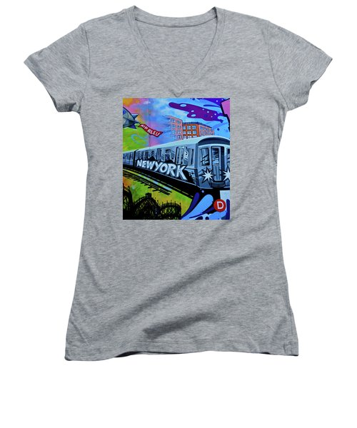New York Train Women's V-Neck T-Shirt (Junior Cut) by Joan Reese