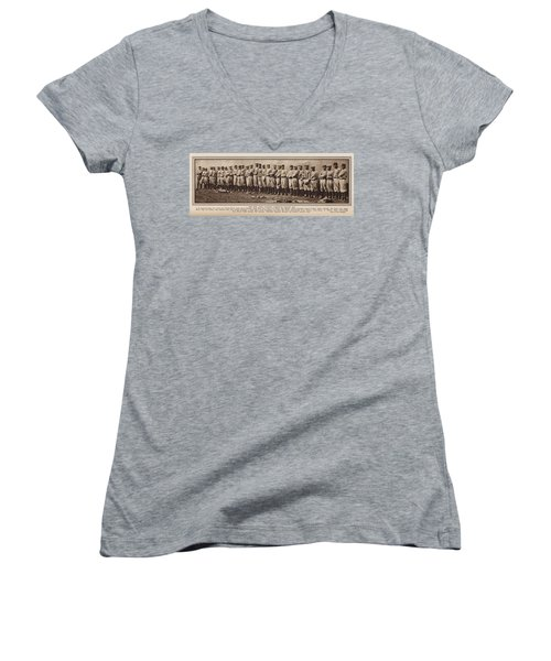 Women's V-Neck T-Shirt (Junior Cut) featuring the photograph New York Yankees 1916 by Daniel Hagerman