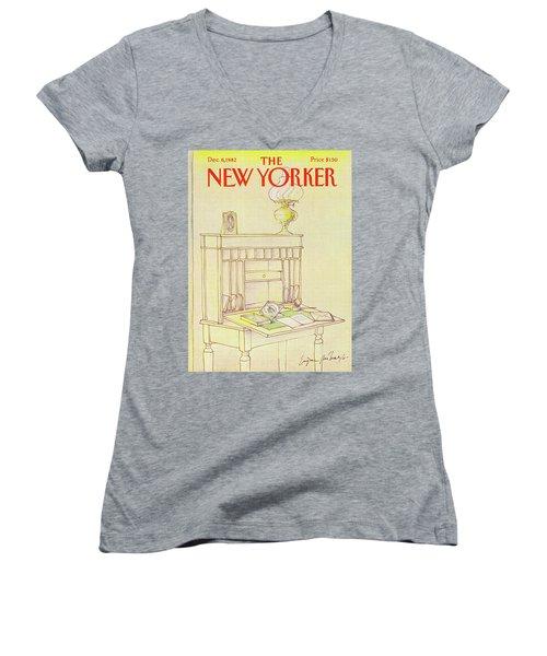 New Yorker Cover December 6th 1982 Women's V-Neck