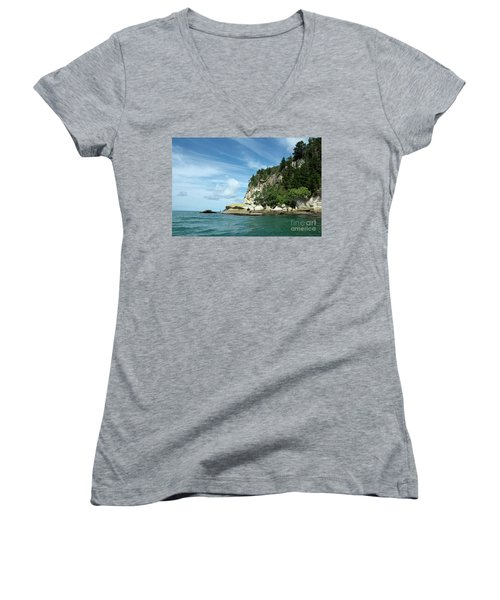 Women's V-Neck T-Shirt (Junior Cut) featuring the photograph New Zealand Beauties by Yurix Sardinelly