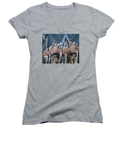 Women's V-Neck featuring the photograph New Zealand,north Island,  Rotorua Arts Festival,dance And Singi by Juergen Held