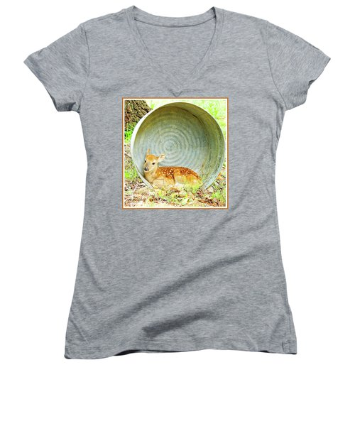Newborn Fawn Finds Shelter In An Old Washtub Women's V-Neck T-Shirt (Junior Cut) by A Gurmankin