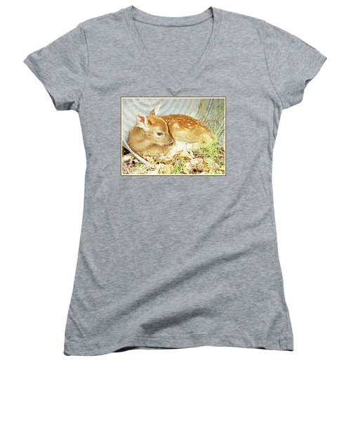 Newborn Fawn Takes Shelter In An Old Washtub Women's V-Neck T-Shirt (Junior Cut) by A Gurmankin