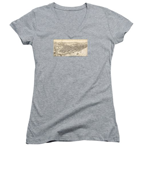 Newburgh Ny Birds Eye Drawing Women's V-Neck T-Shirt