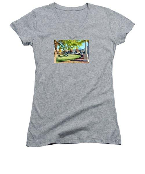 Women's V-Neck T-Shirt (Junior Cut) featuring the photograph Newnan Park Ampitheatre by Roberta Byram