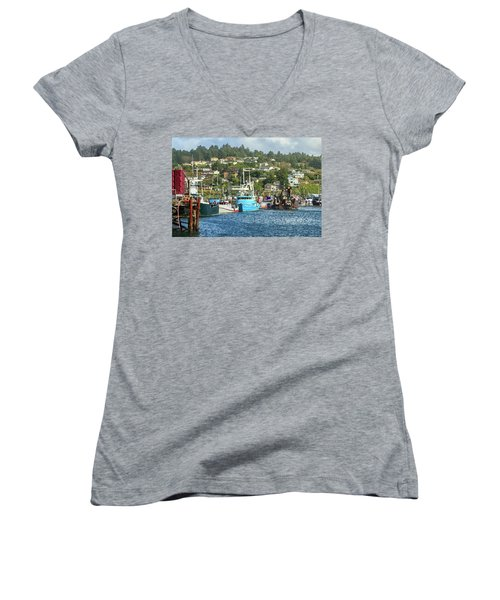 Newport Harbor Women's V-Neck T-Shirt (Junior Cut) by James Eddy