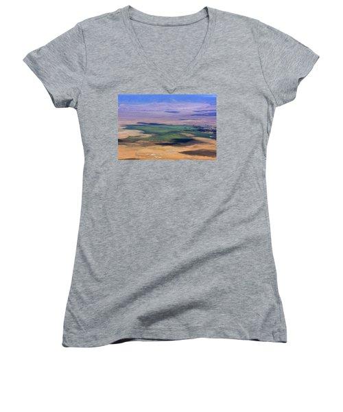 Ngorongoro Crater Tanzania Women's V-Neck T-Shirt (Junior Cut) by Aidan Moran