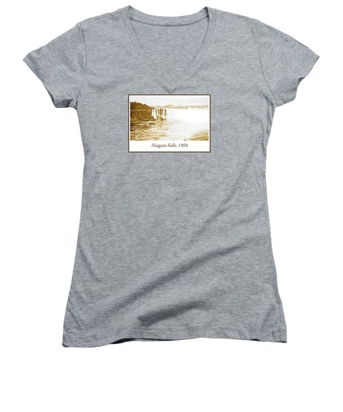 Women's V-Neck T-Shirt (Junior Cut) featuring the photograph Niagara Falls Ferry Boat 1904 Vintage Photograph by A Gurmankin