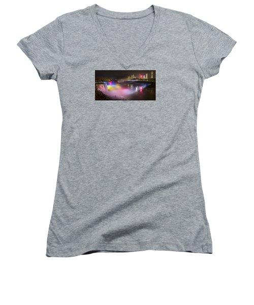 Women's V-Neck T-Shirt (Junior Cut) featuring the photograph Niagara Rainbow by Mark Papke