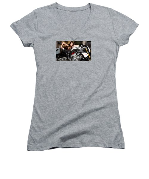 Women's V-Neck T-Shirt (Junior Cut) featuring the photograph Nice View by Lawrence Christopher