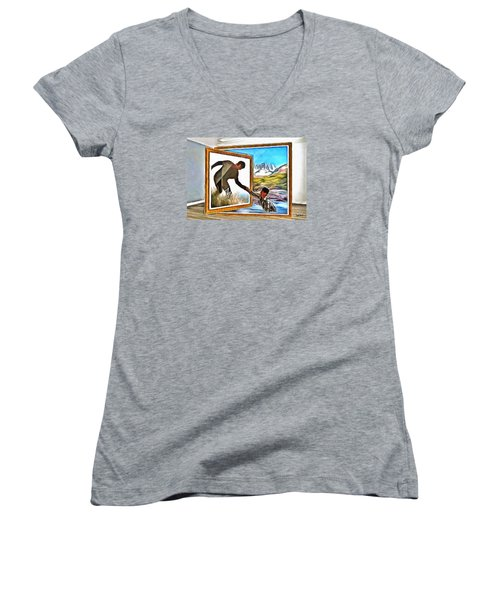 Women's V-Neck T-Shirt (Junior Cut) featuring the painting Night At The Art Gallery - One To Another by Wayne Pascall