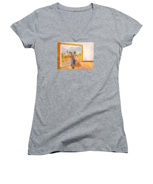 Women's V-Neck T-Shirt (Junior Cut) featuring the painting Night At The Art Gallery - Railway To Freedom by Wayne Pascall