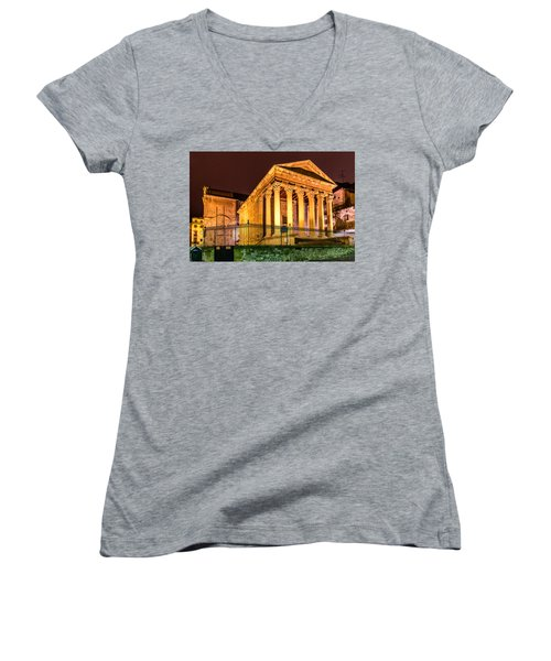 Night At The Roman Temple Women's V-Neck T-Shirt