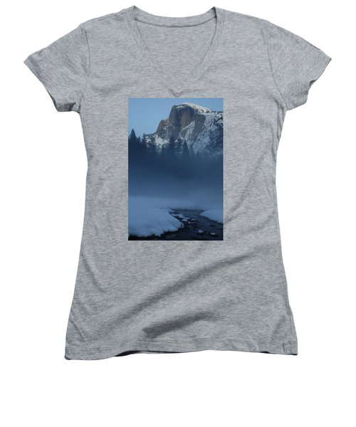 Women's V-Neck T-Shirt (Junior Cut) featuring the photograph Night Falls Upon Half Dome At Yosemite National Park by Jetson Nguyen
