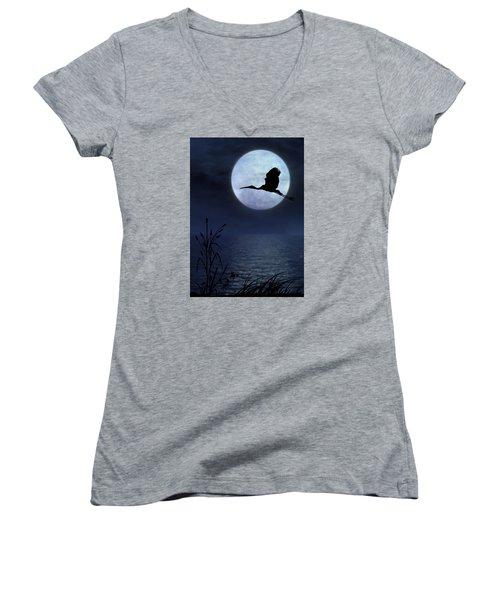 Night Flight Women's V-Neck T-Shirt (Junior Cut) by Christina Lihani