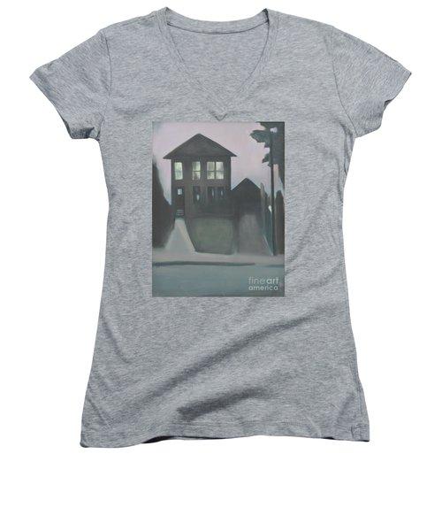 Night Glow Women's V-Neck T-Shirt (Junior Cut) by Ron Erickson