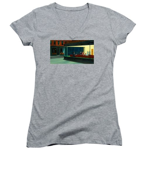 Night Hawks Women's V-Neck T-Shirt (Junior Cut) by Edward Hopper