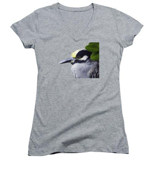 Night Heron Transparency Women's V-Neck T-Shirt (Junior Cut) by Richard Goldman