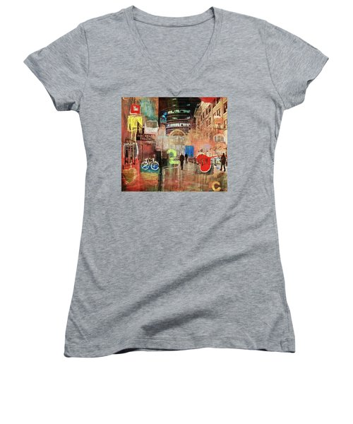 Women's V-Neck T-Shirt (Junior Cut) featuring the photograph Night In The City by Susan Stone