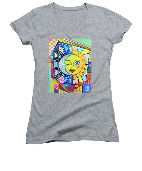 Night Kisses Daylight Women's V-Neck T-Shirt (Junior Cut) by Jeremy Aiyadurai