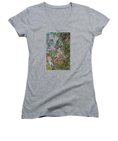 Night Night Women's V-Neck T-Shirt (Junior Cut) by Claudia Cole Meek