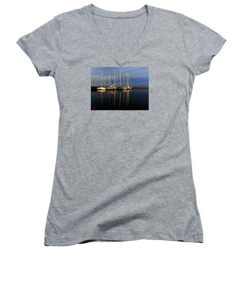 Night On Paros Island Greece Women's V-Neck T-Shirt (Junior Cut) by Colette V Hera  Guggenheim