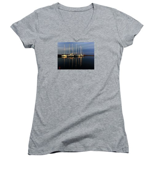 Night On Paros Island Greece Women's V-Neck