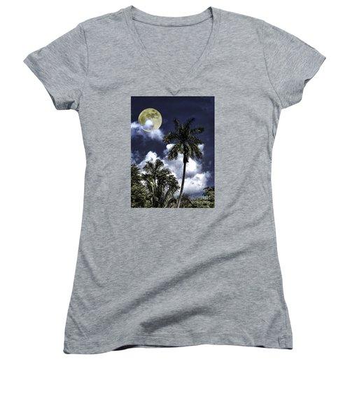 Night Palms Women's V-Neck T-Shirt (Junior Cut)