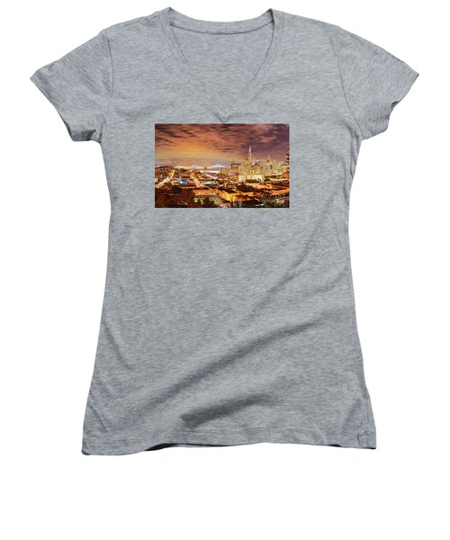 Night Panorama Of San Francisco And Oak Area Bridge From Ina Coolbrith Park - California Women's V-Neck