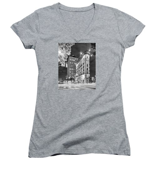 Night Photograph Of The Flatiron Or Saunders Triangle Building - Downtown Fort Worth - Texas Women's V-Neck (Athletic Fit)