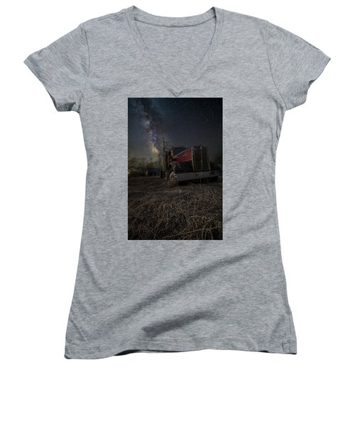 Women's V-Neck T-Shirt (Junior Cut) featuring the photograph Night Rig by Aaron J Groen