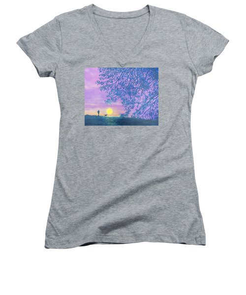Women's V-Neck T-Shirt (Junior Cut) featuring the painting Night Runner by Susan DeLain