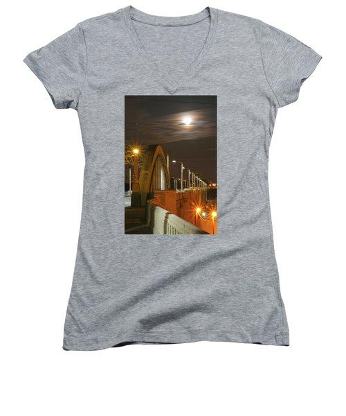 Night Shot Of The Los Angeles 6th Street Bridge And Supermoon #4 Women's V-Neck