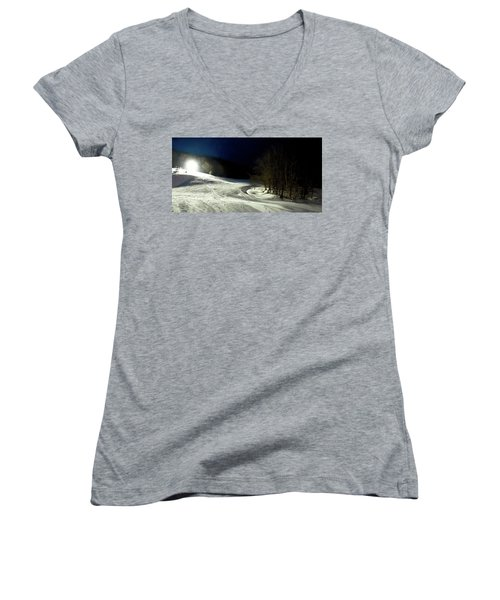 Women's V-Neck T-Shirt (Junior Cut) featuring the photograph Night Skiing At Mccauley Mountain by David Patterson