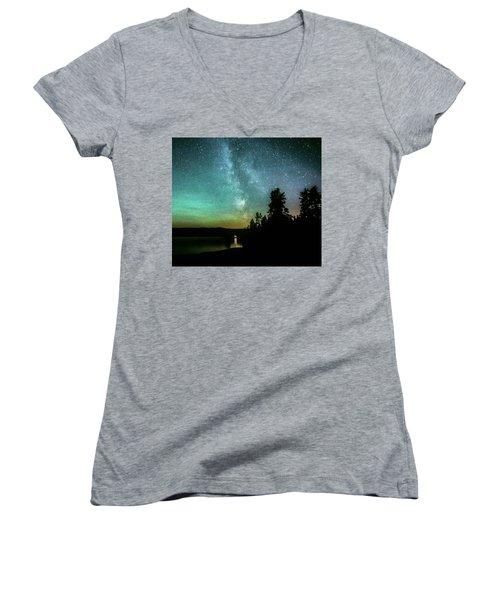 Night Sky Women's V-Neck T-Shirt (Junior Cut) by Rose-Marie Karlsen