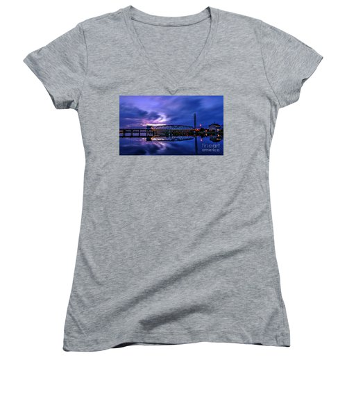 Night Swing Bridge Women's V-Neck