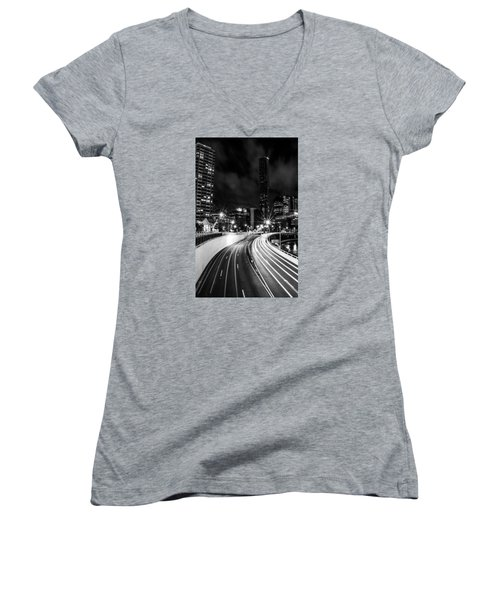 Night Time In The City  Women's V-Neck