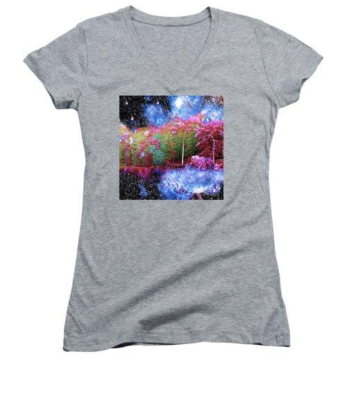 Night Trees Starry Lake Women's V-Neck T-Shirt (Junior Cut) by Saundra Myles